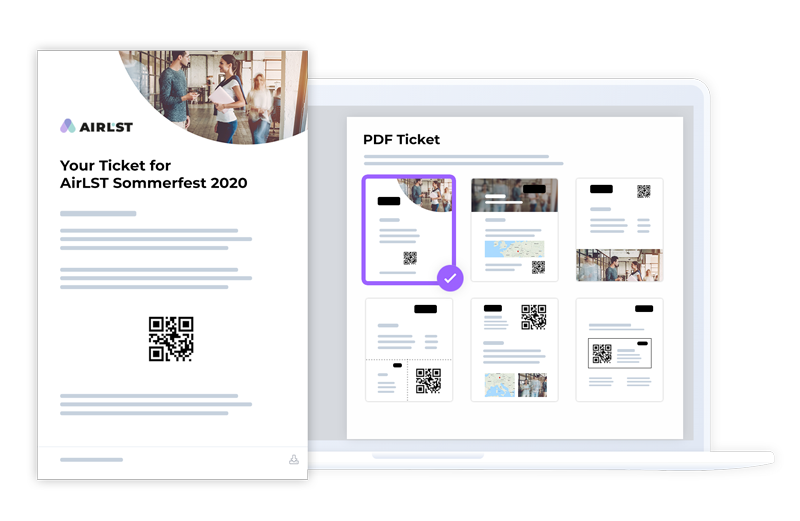 Ticket-Editor PDF with free design possibilities in format and design.