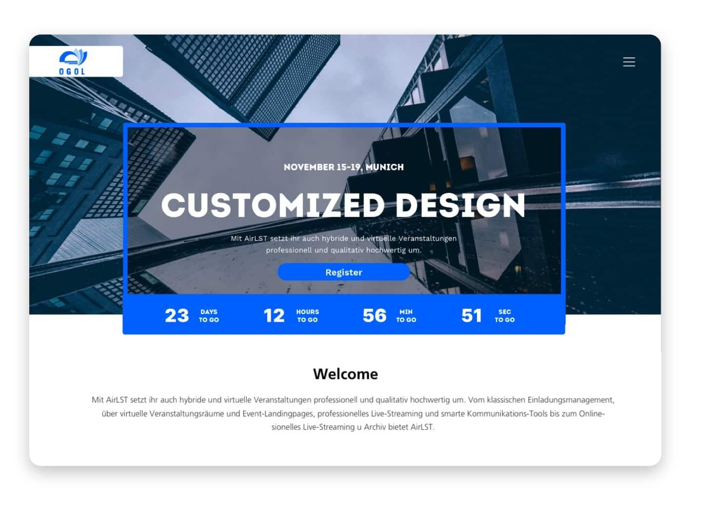 Der Template Editor. Im Bearbeitungsmodus, koordinieren Grafiken und Anhänge per Drag und Drop und legen Design, Inhalt sowie alle weiteren Einstellungen fest.