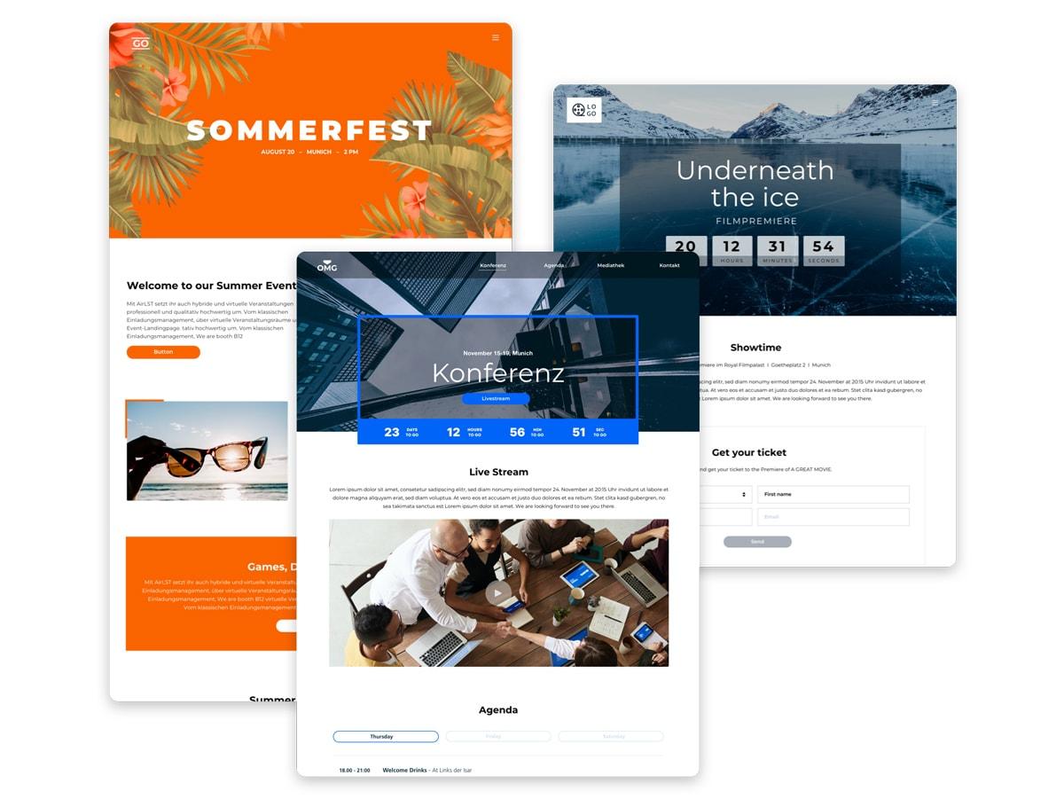Darstellung von Event Webseiten