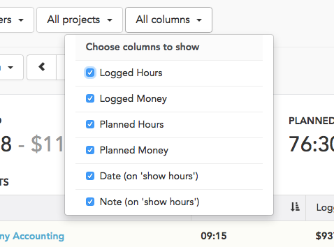 hide columns in reports