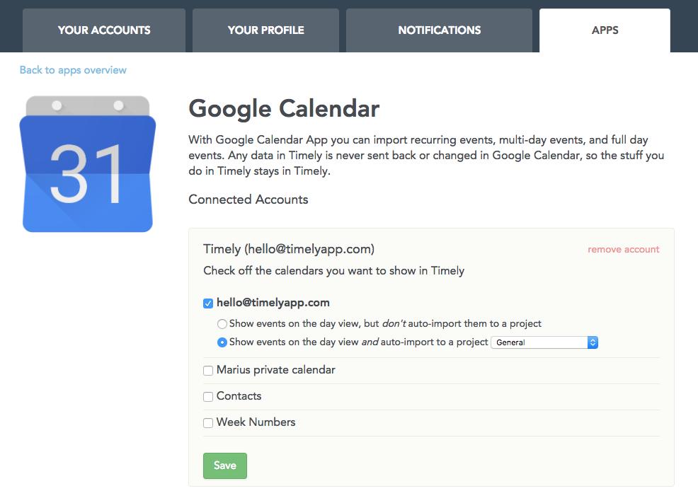 Google calendar in Timely