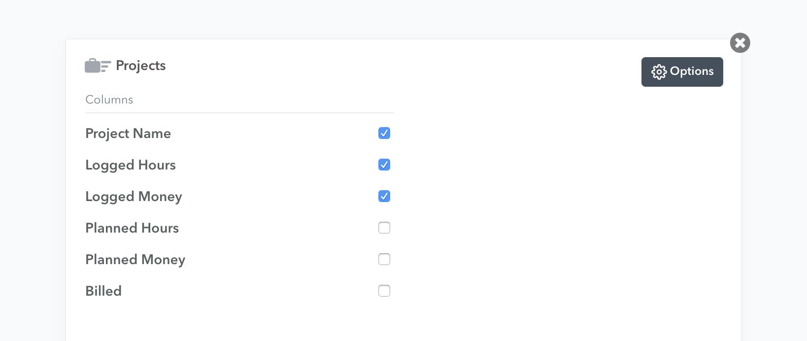 chart options