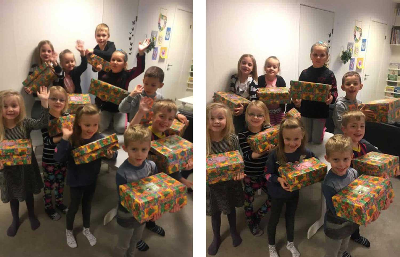 Børn í Býlingahúsinum við eskjum til Christmas child