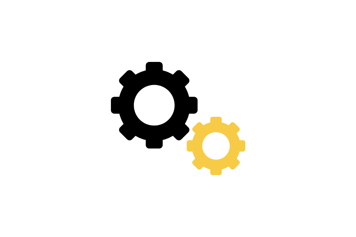 Icon of two gears, one is black and one is yellow.