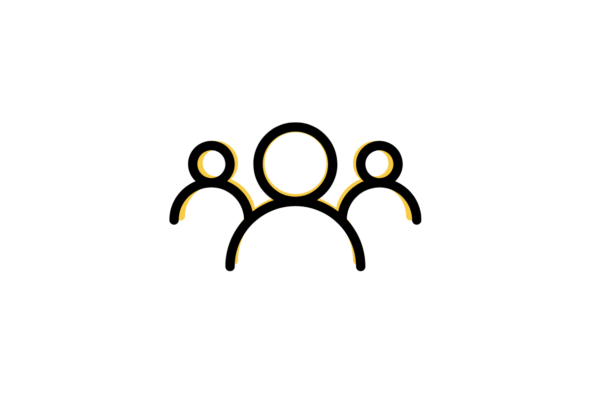 Black and yellow icon of three people.