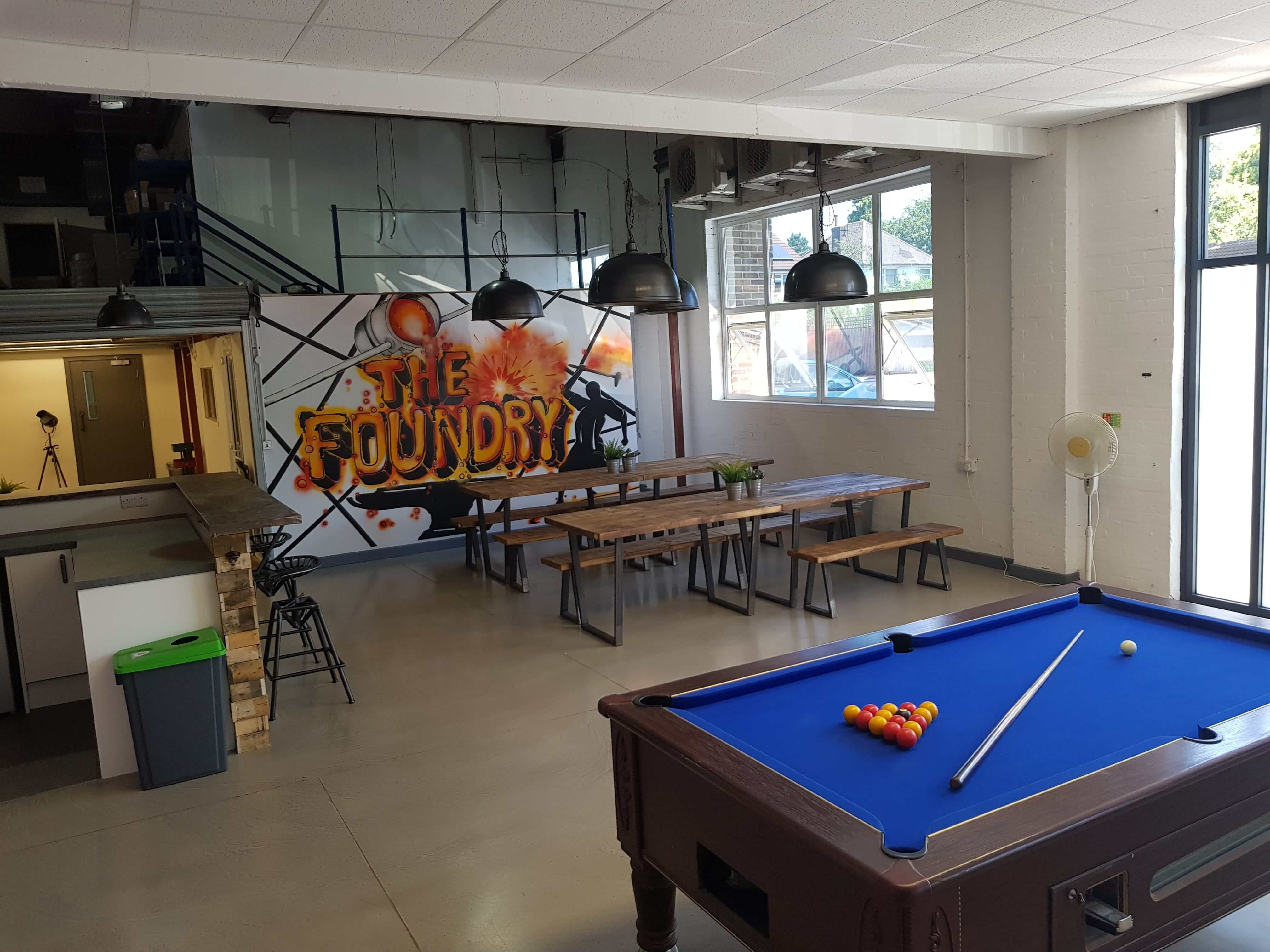 pool table inside the foundry