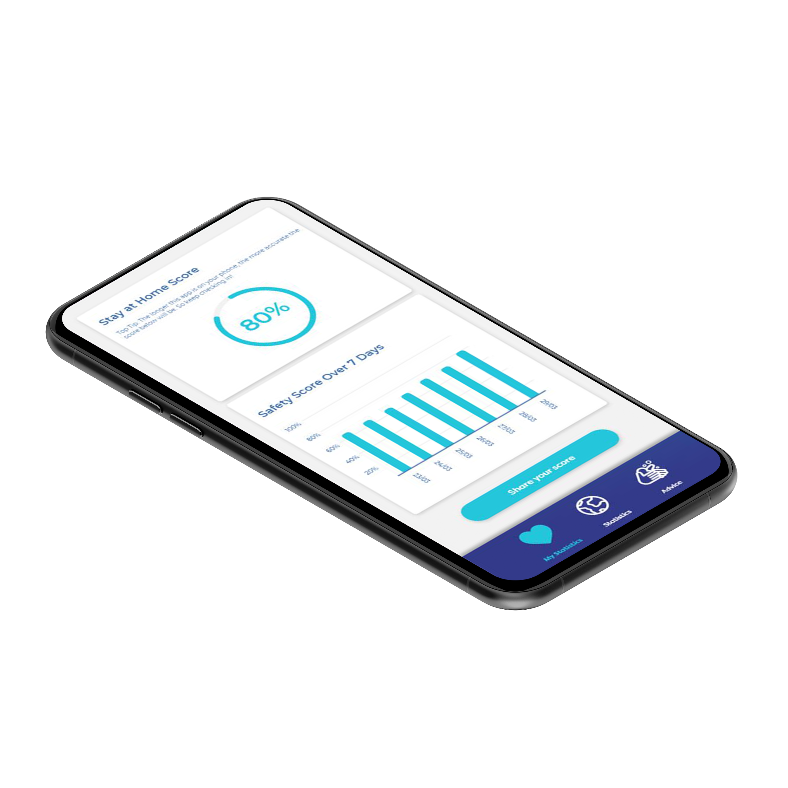 StayAtHome App on a smartphone