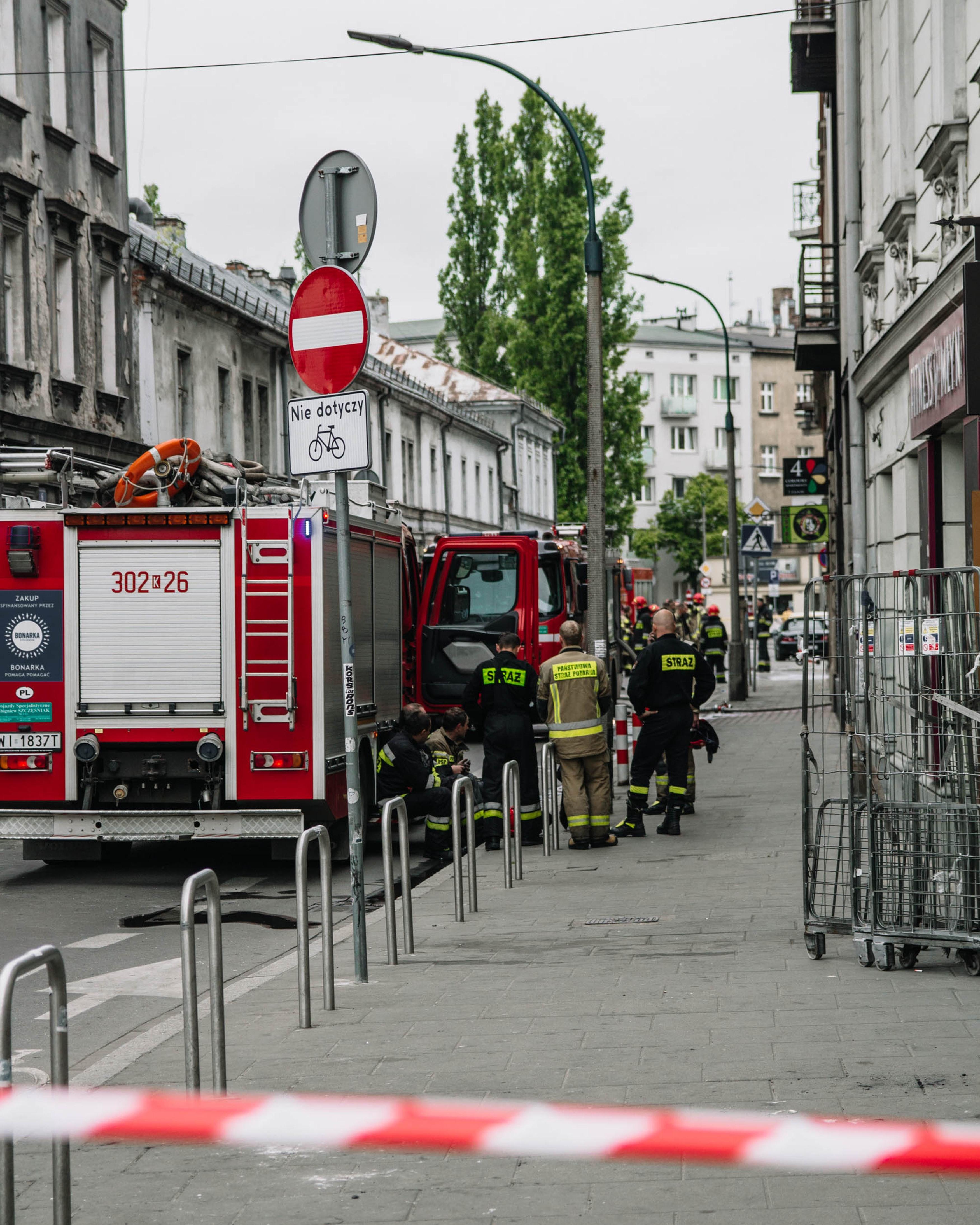 Fire brigade on a city street