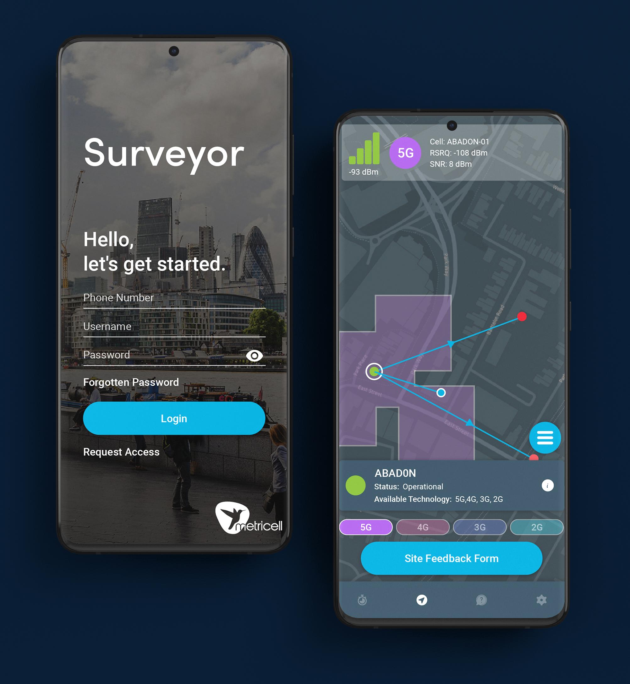 Surveyor on smartphone