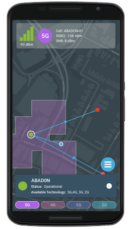 Metricell's Surveyor application on a smartphone showing serving cells to the building that's being analysed.