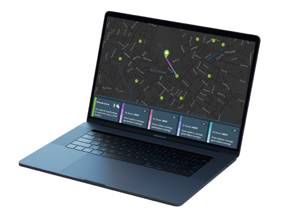 A laptop showing SmartAgents. On the screen there is the status of nearby sites.