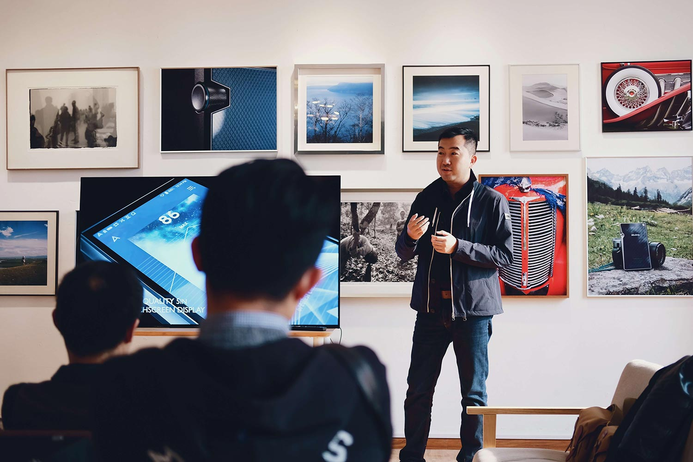 A man presenting at a meeting