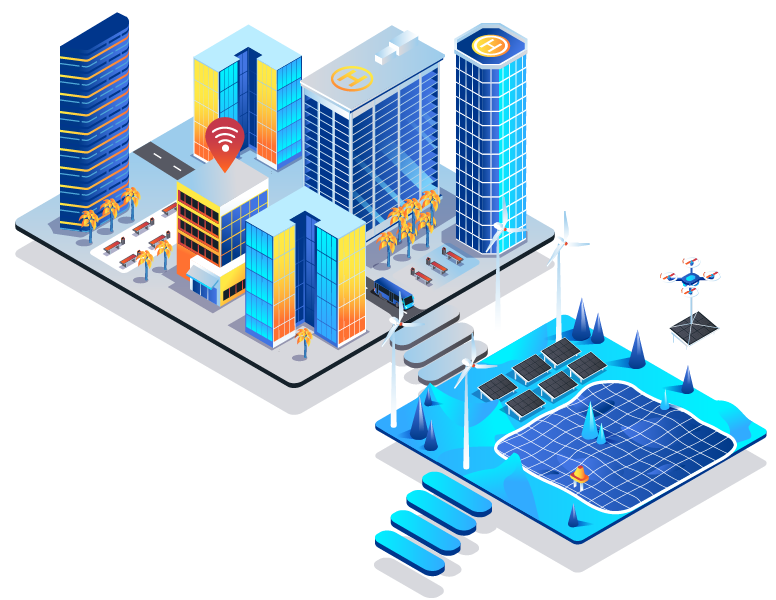 A futuristic city with connected buildings and renewable energy