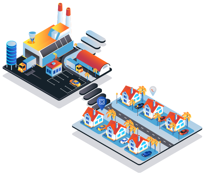 Part of a smart city showing public transport and residential areas