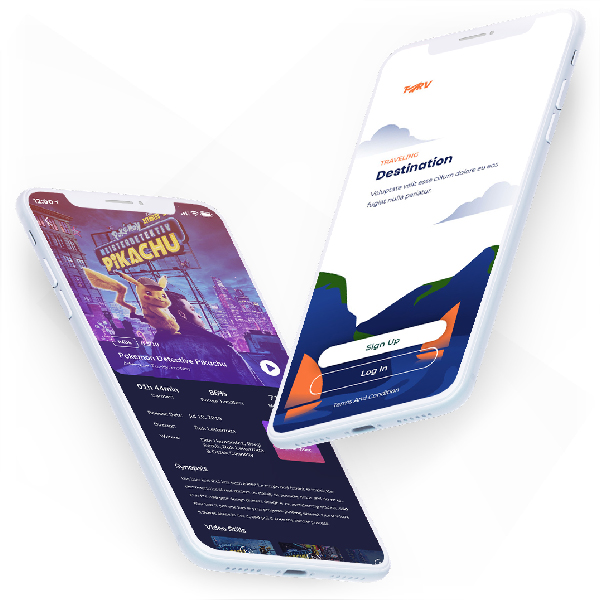 2 Smartphones depicting crowdscore integrated into mobile applications