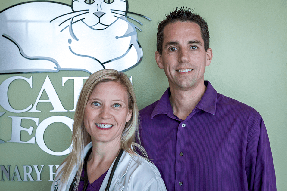 The owners and primary doctor at The Cat's Meow Veterinary Hospital