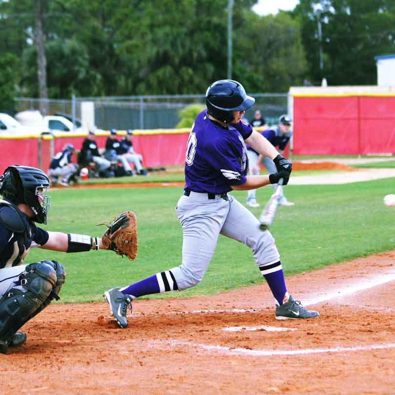 Karr hitting a baseball