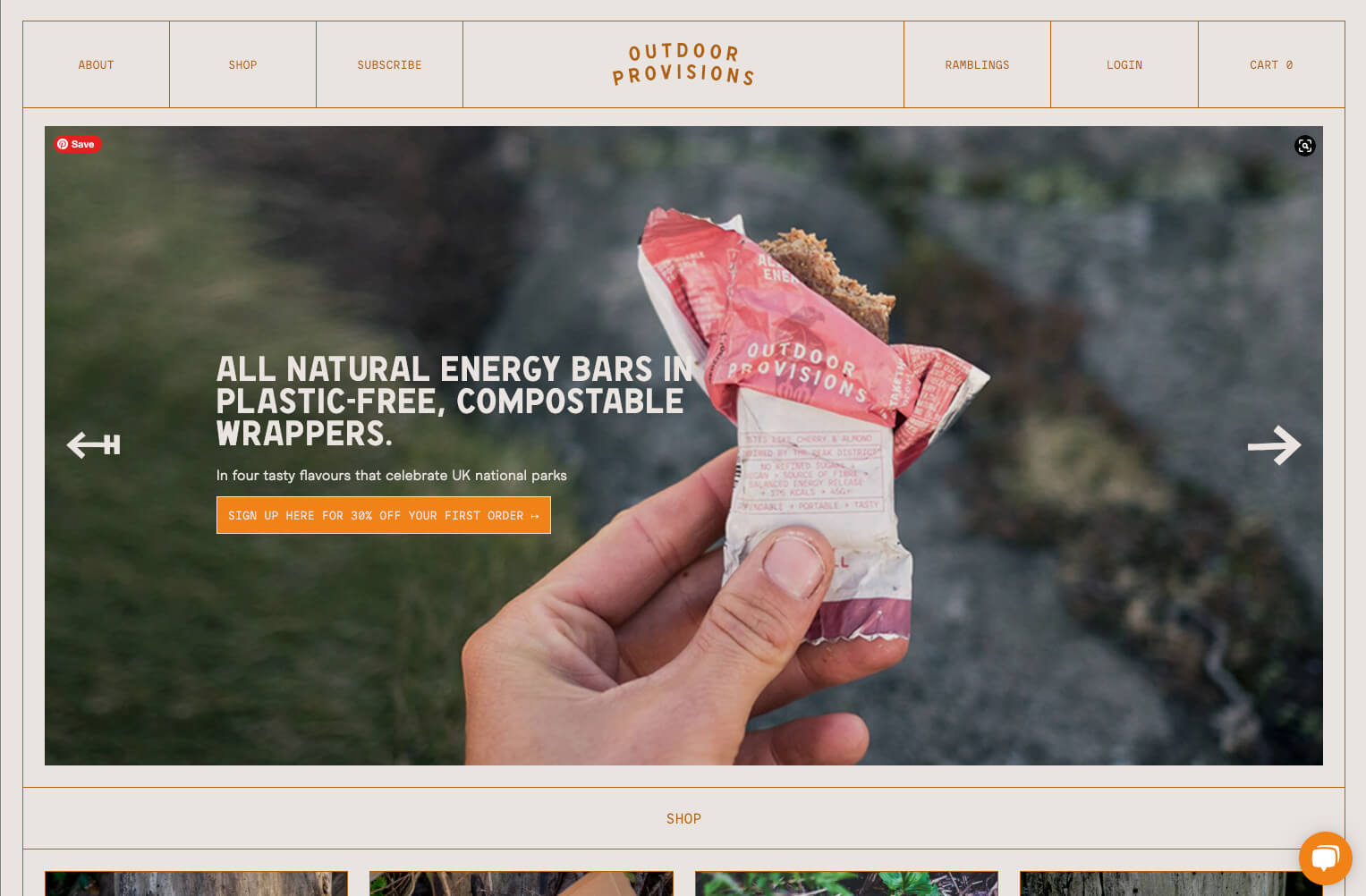 Outdoor Provisions Website built on Craft Commerce