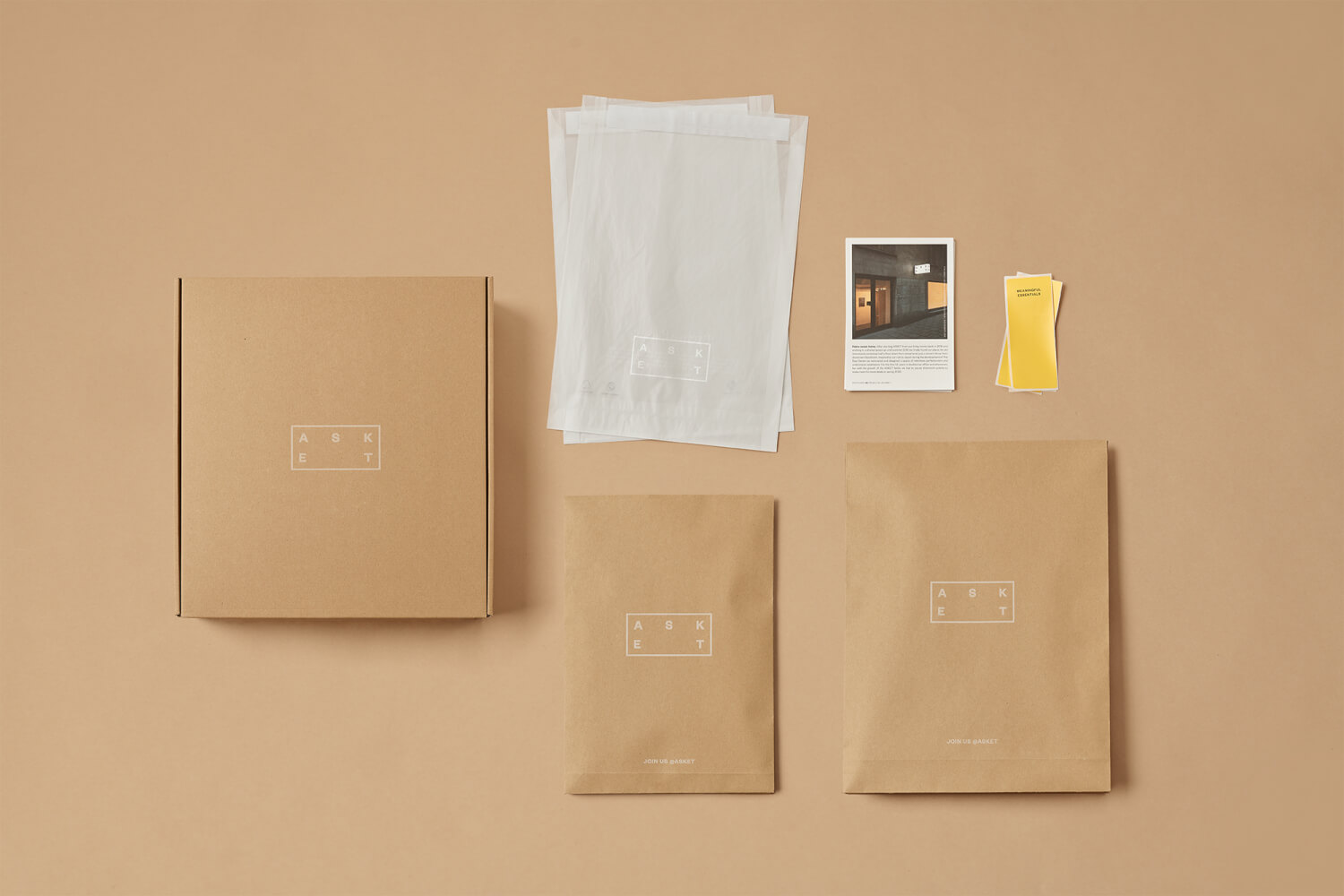Top down image of Asket packaging laid flat