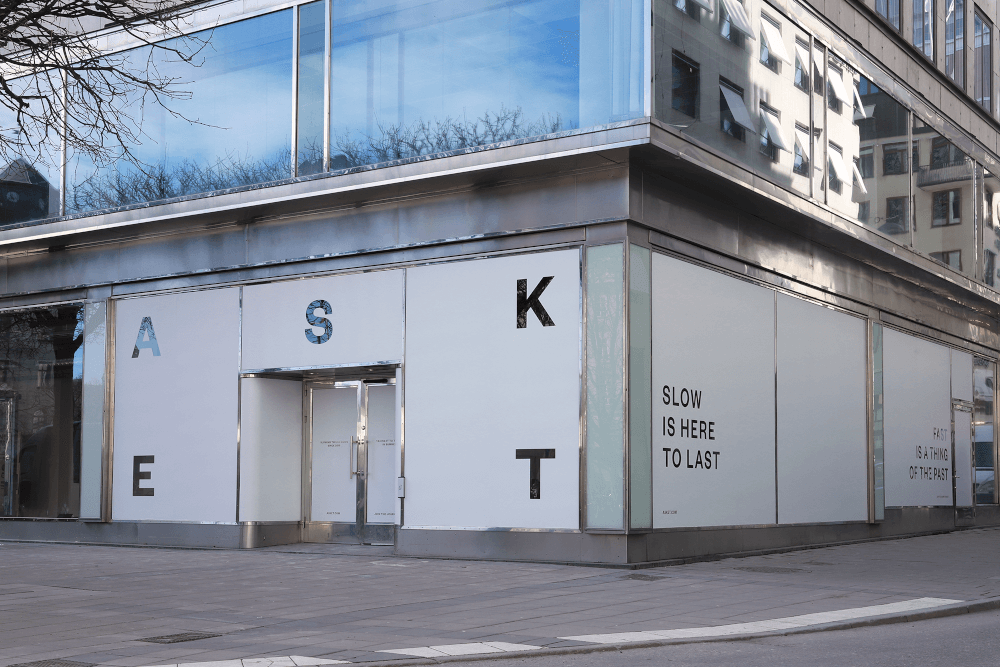 Exterior of the new Asket store in Stockholm