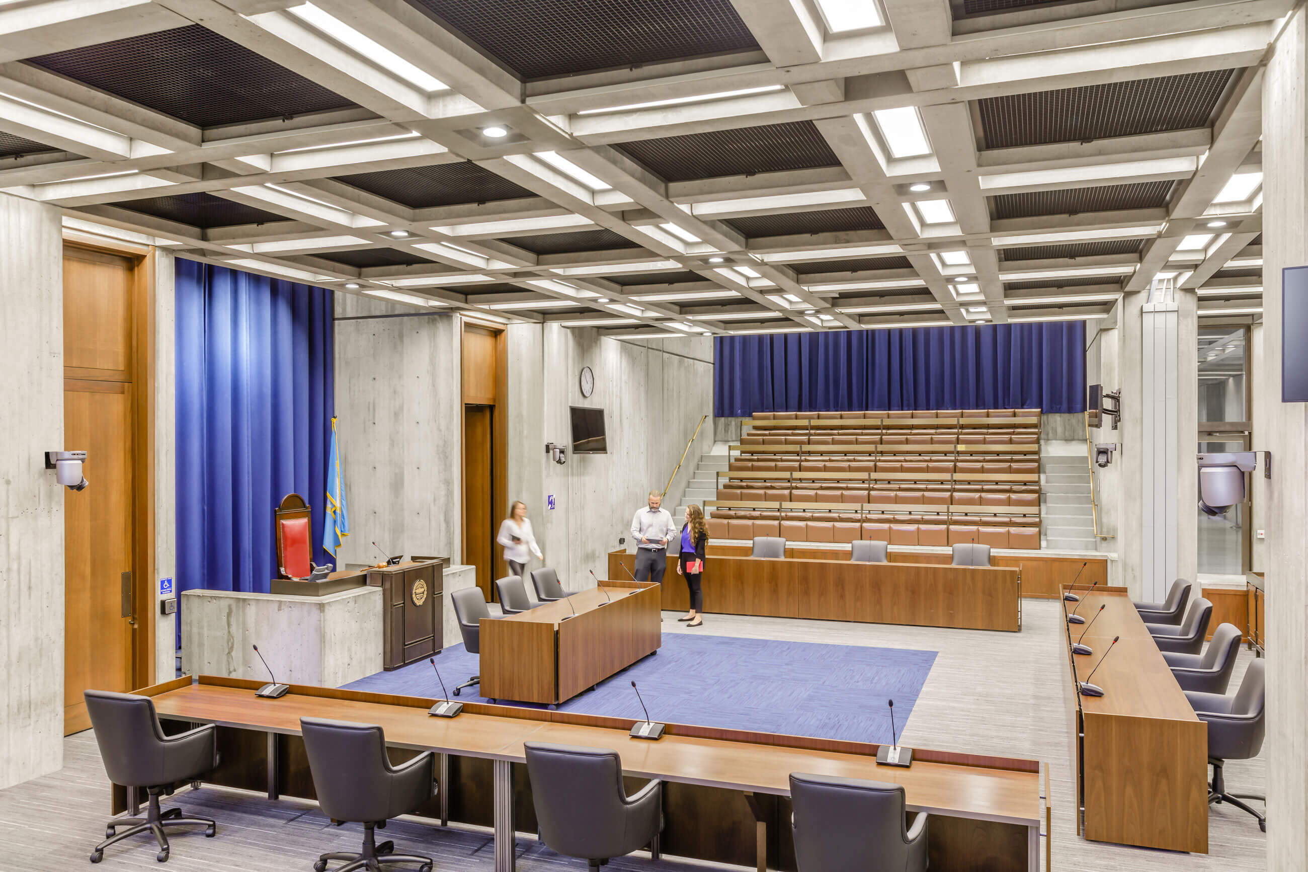 Interior view of Boston City Hall's Council Chamber, showing the accessibility improvements made by Finegold Alexander Architects, including the leveling off of the floors