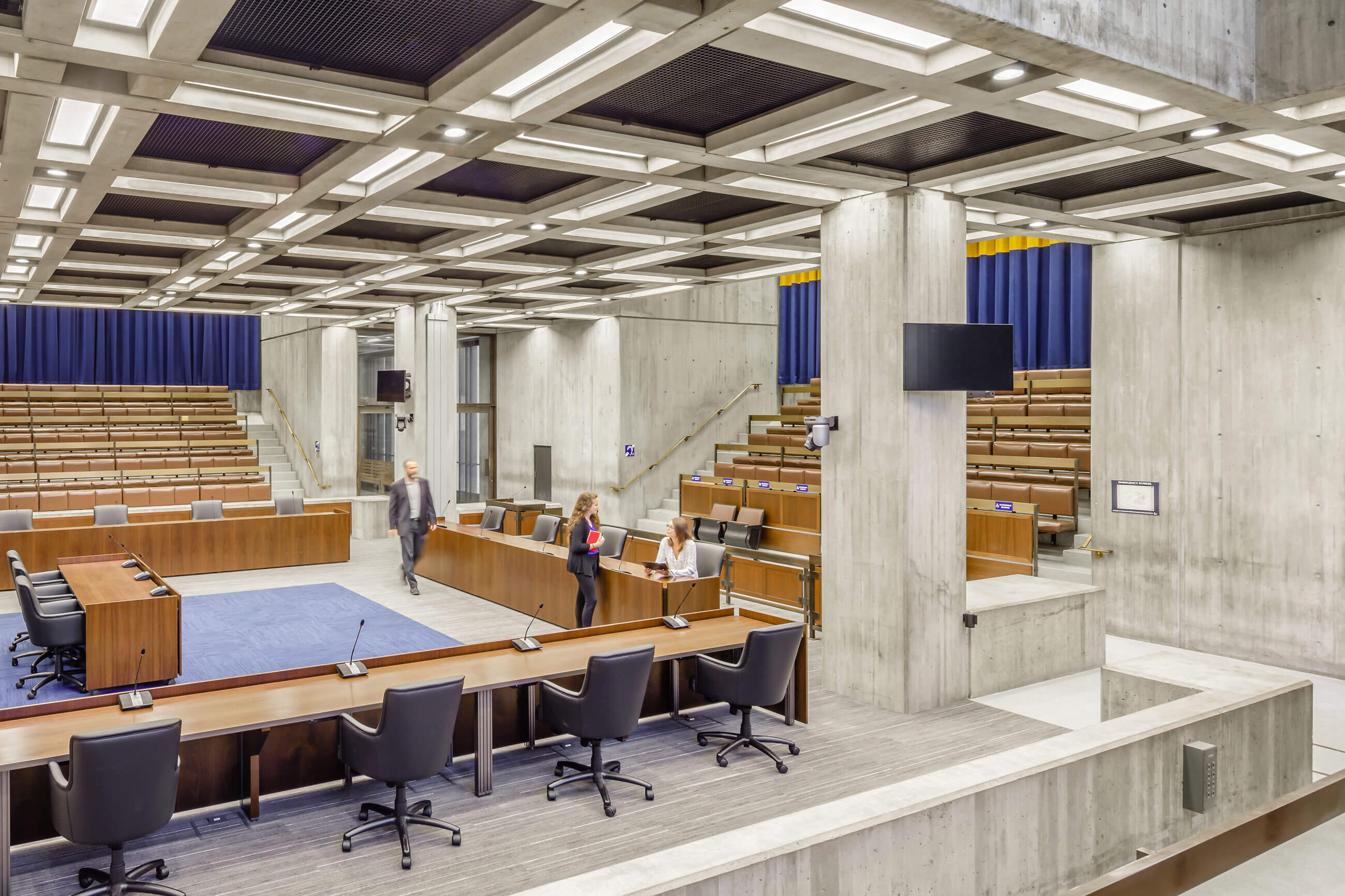 Interior view of Boston City Hall Council Chambers, showing clean, crisp modern finishes in this Modernist icon.