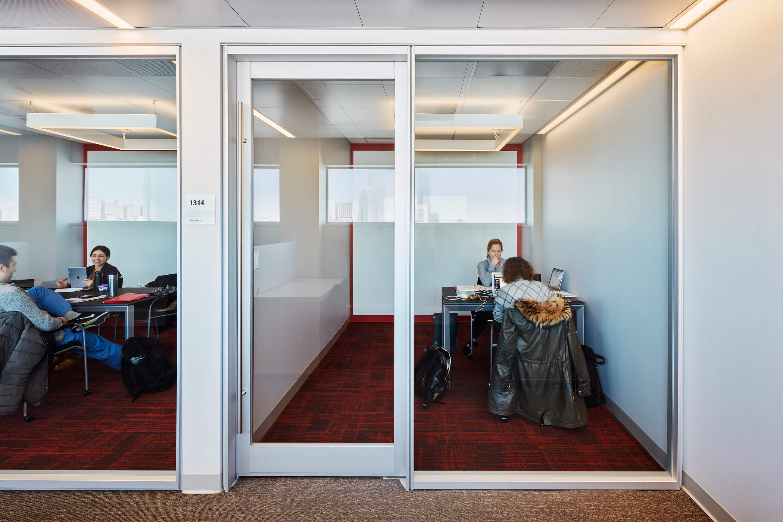Acoustically isolated small-group study rooms at the recently renovated Alumni Medical Library at Boston University