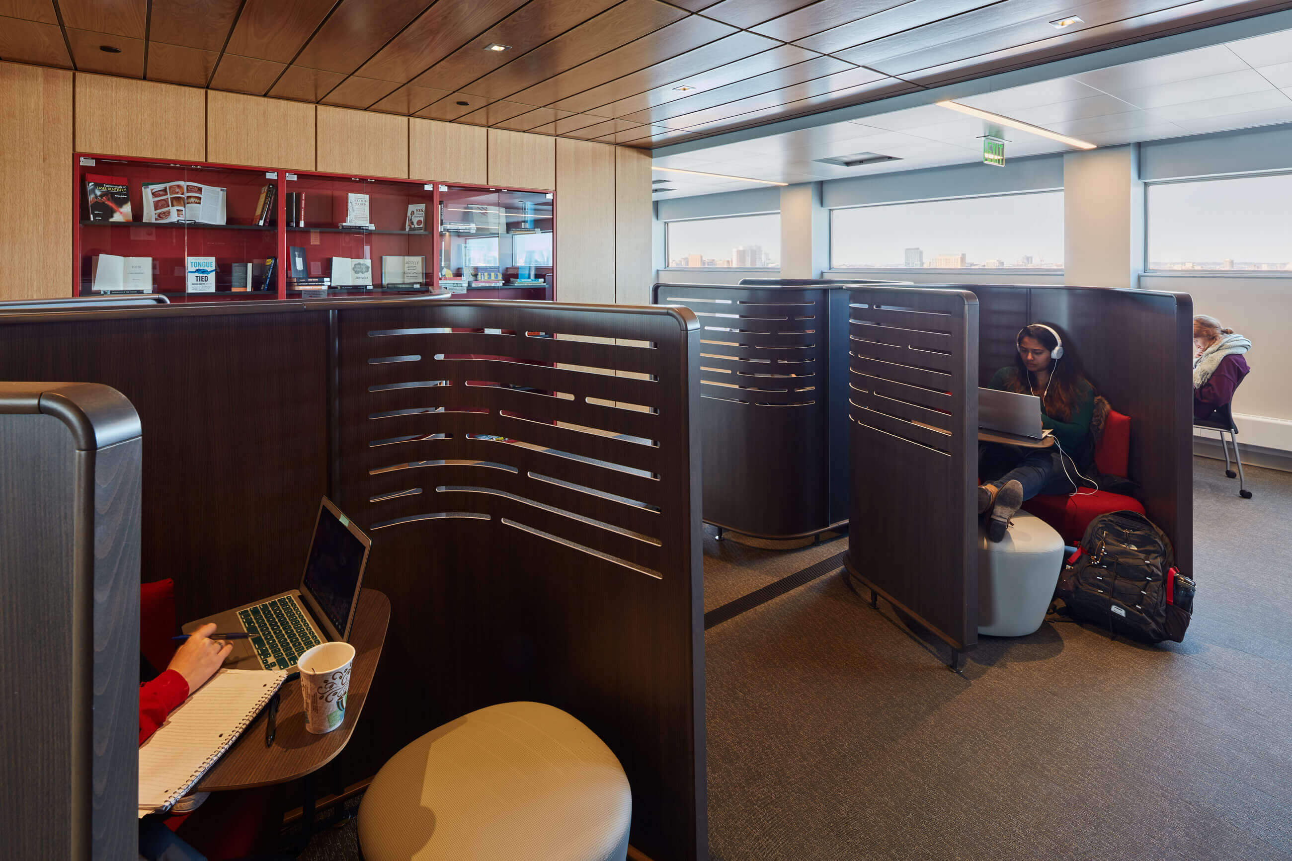 Individual work pods for graduate student study at BU's Alumni Medical Library, renovated by Finegold Alexander Architects
