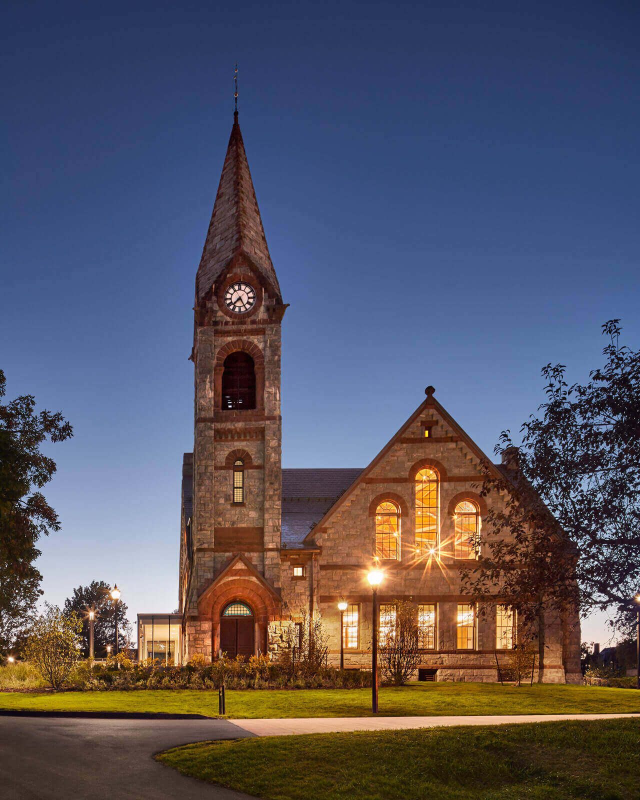 University of Massachusetts, Old Chapel, glowing at dusk.