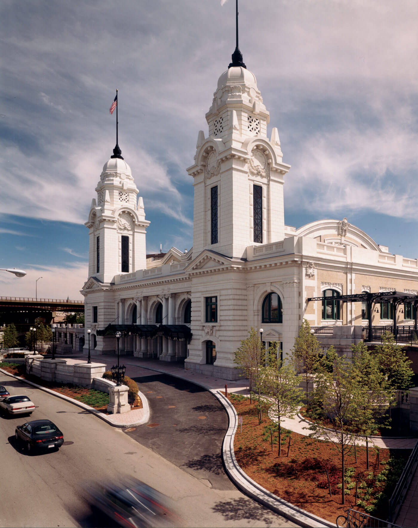 Street entrance to Worcester's Union Station Intermodal Transportation Center from the right, characterized by its two gleaming white towers.