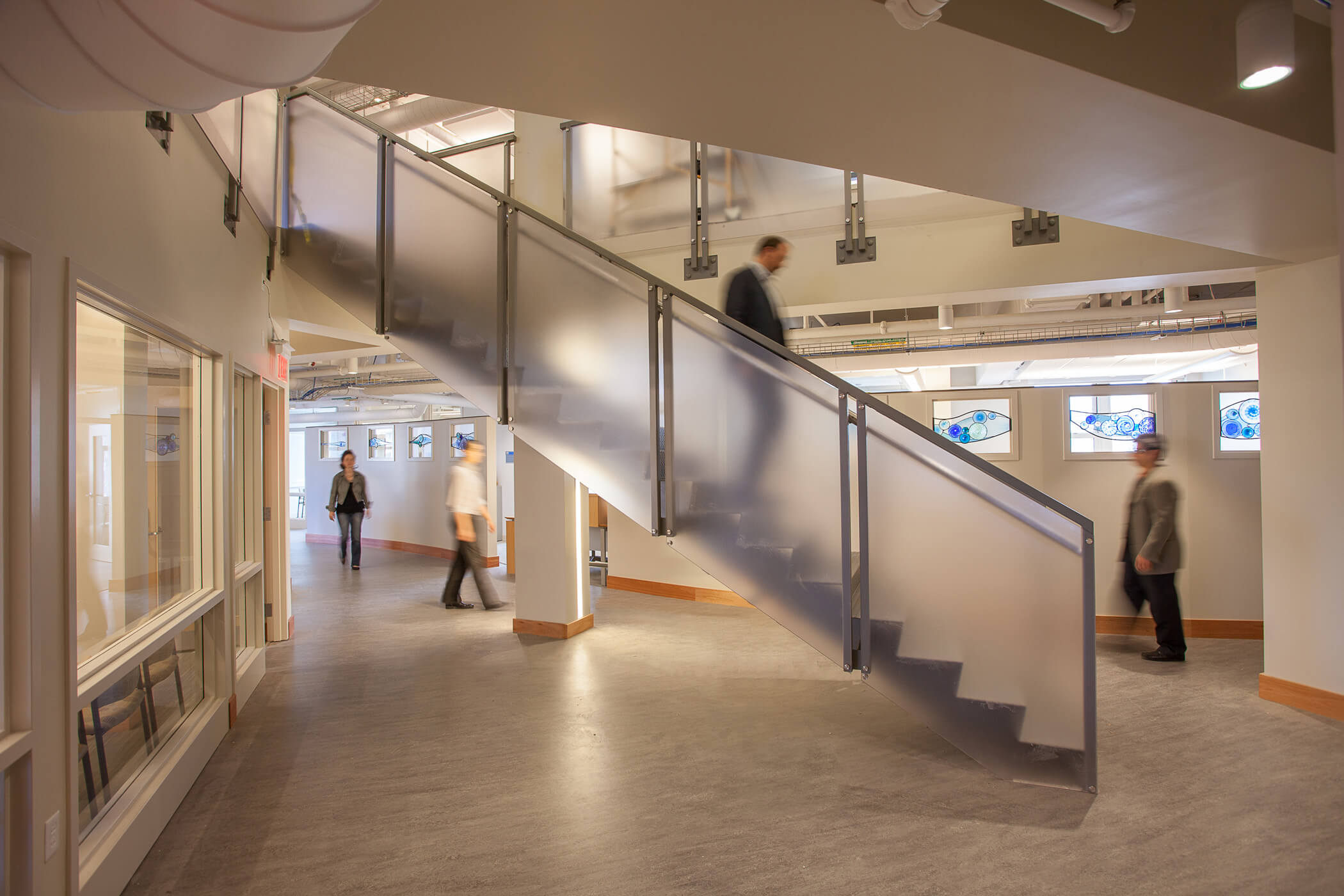 Interior view of new communicating stair and circulation core of the Cambridge Housing Authority