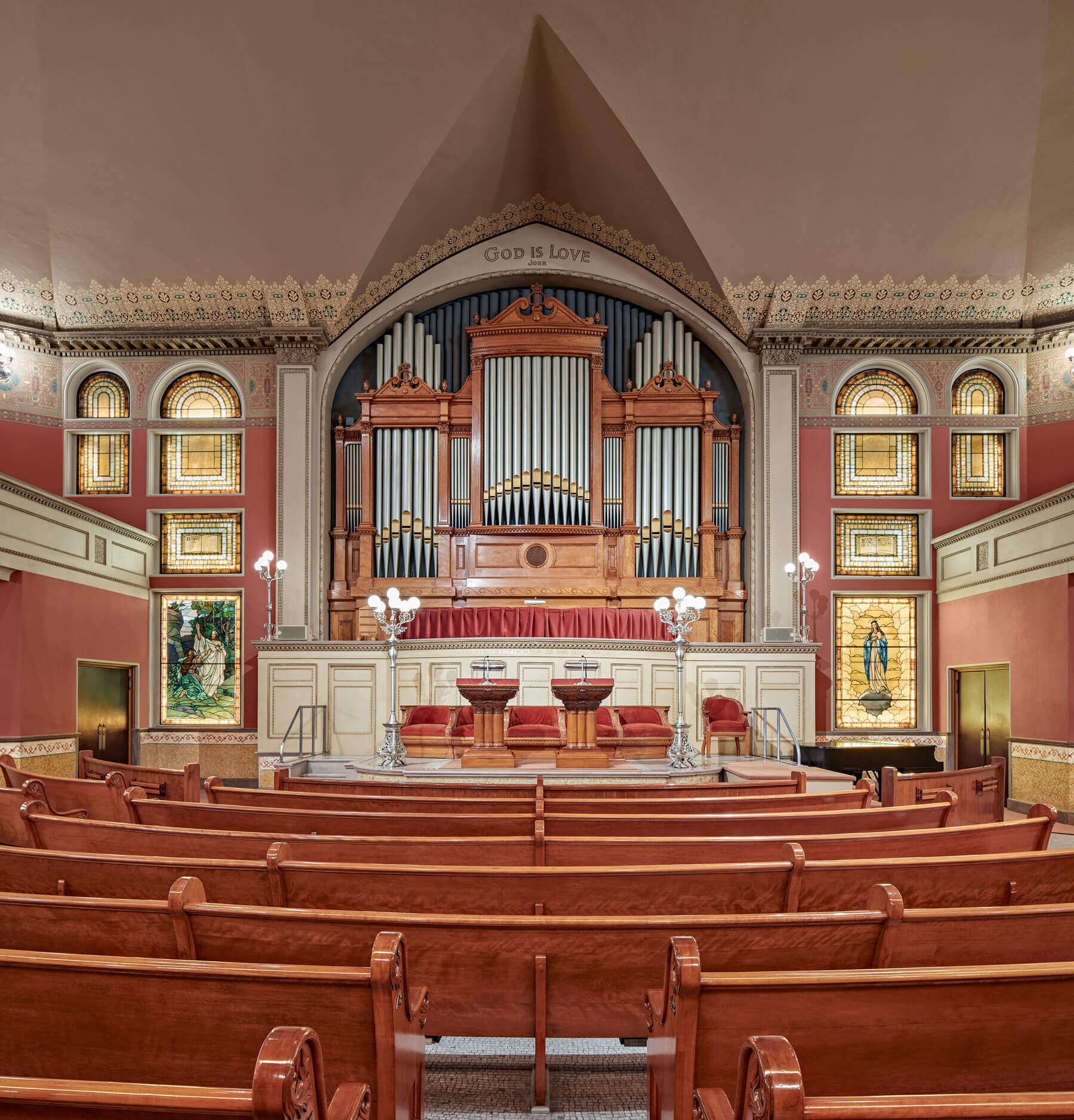 Straight-on view of the organ and altar of The First Church of Christ, Scientist, The Mother Church Original.