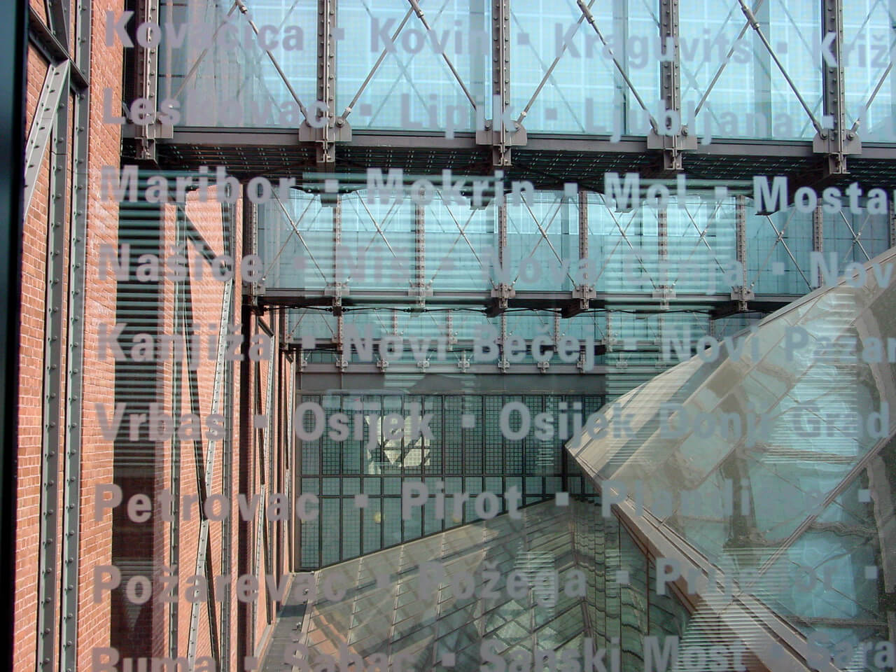 Detail of the glass bridges with the names of the communities destroyed during the Holocaust, at the United States Holocaust Memorial Museum