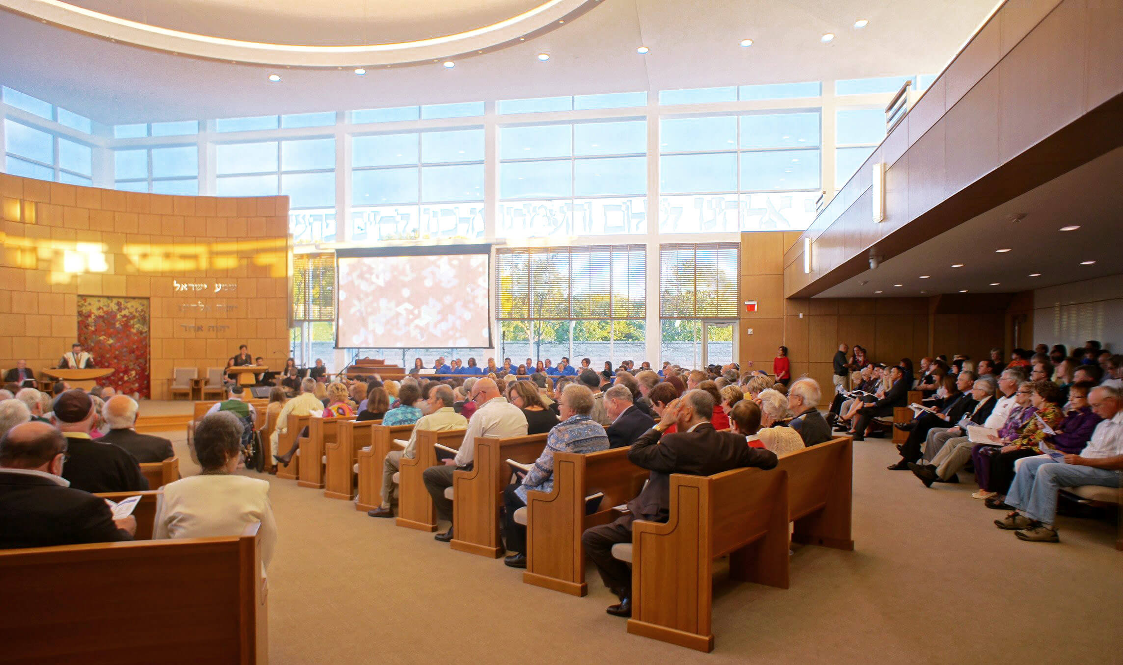 The congregation gathered at the Temple Israel sanctuary.
