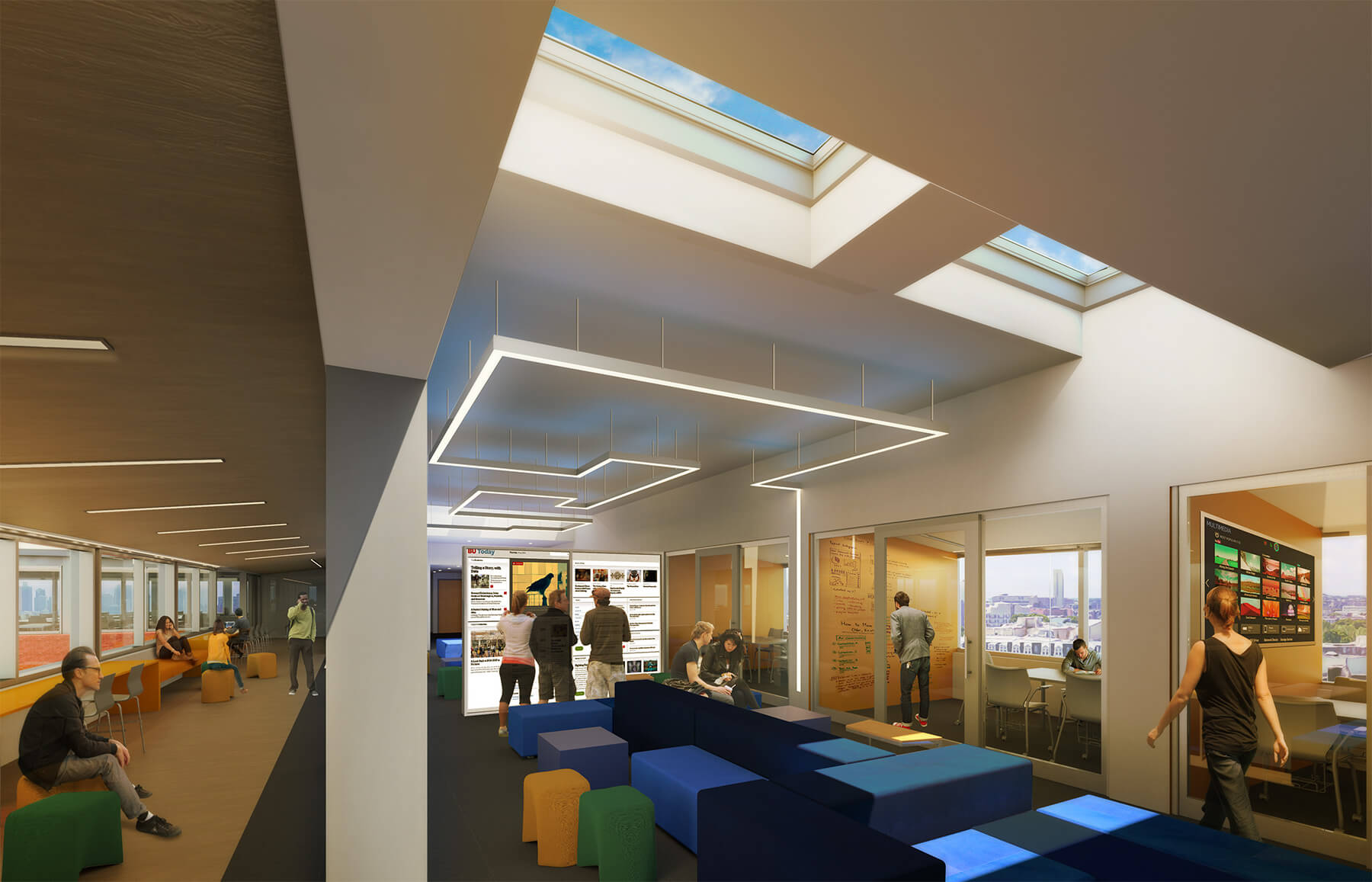 Interior Rendering of flexible study spaces with skylights, and views into adjacent study rooms and classrooms.