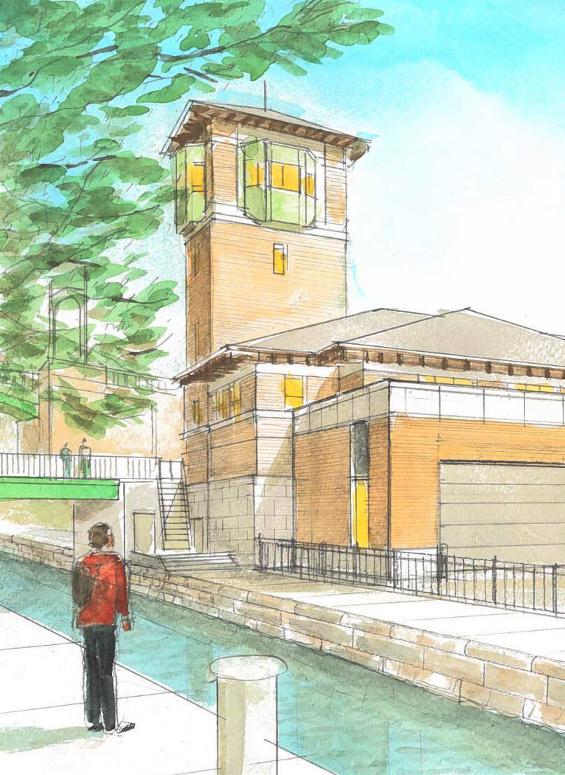 Watercolor rendering of a man looking across the canal to the Lower Basin Barracks, marked by a tall tower.