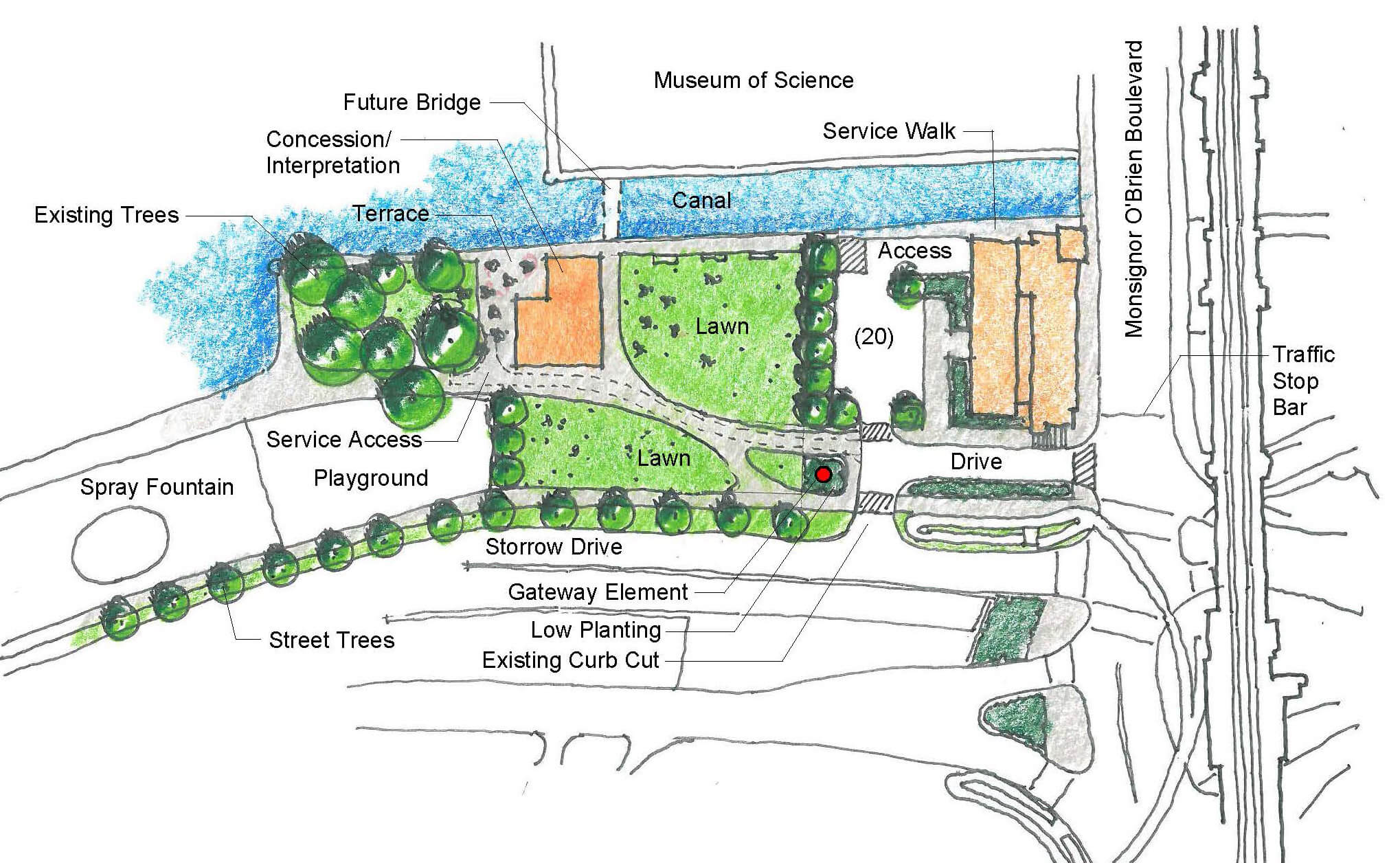 Plan of the Lower Basin Barracks with landscaping, pedestrian paths and a terrace outlined.