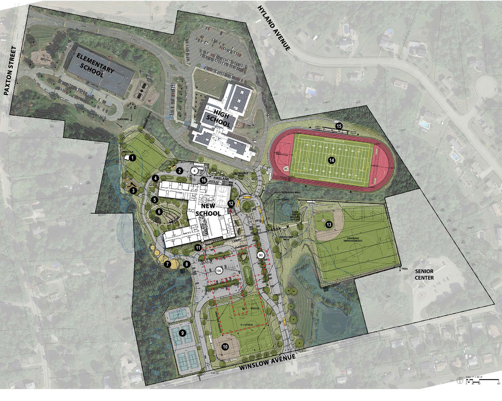 Leicester School plan with new school surrounded by a variety of landscaping and infrastructure elements, including parking, streets, tracks and fields.