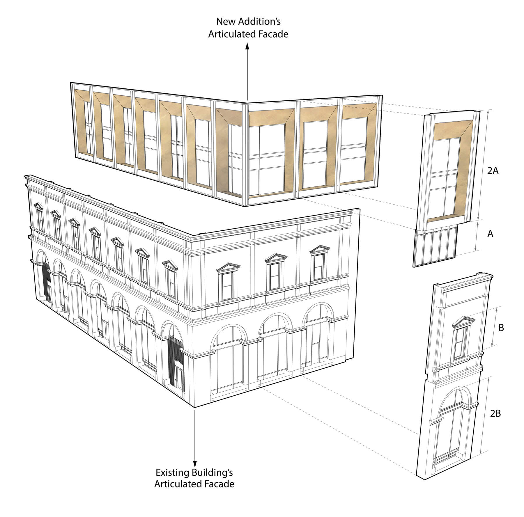 Axonometric drawing of the facade of 727 Mass. Ave. in Cambridge, showing facade of new boutique hotel on top of existing historic building