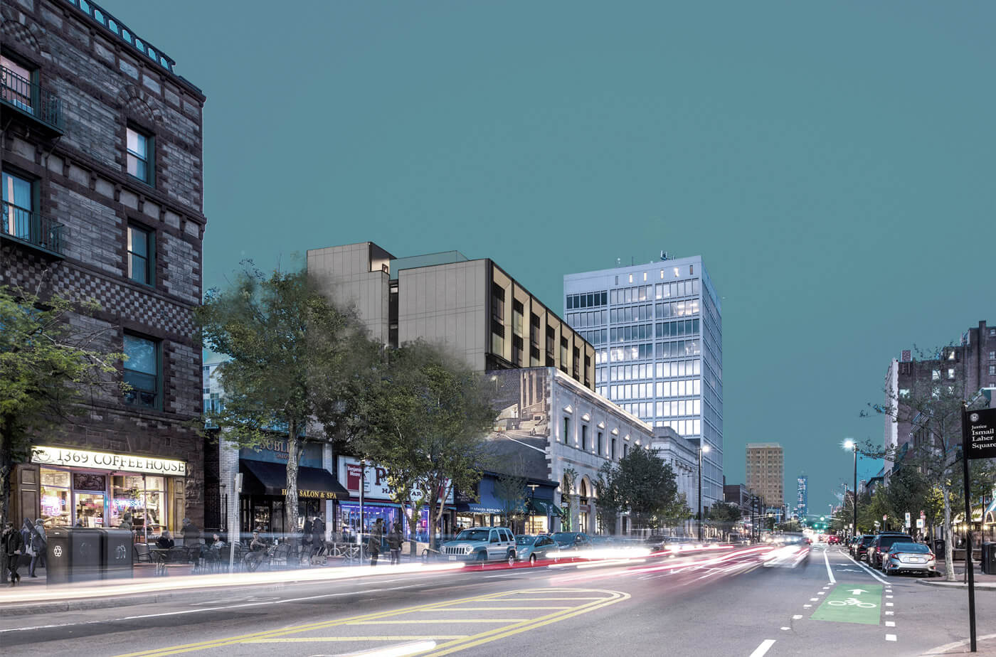 Rendering of twilight view of 727 Mass. Ave., showing the neighborhood context in Central Square, Cambridge
