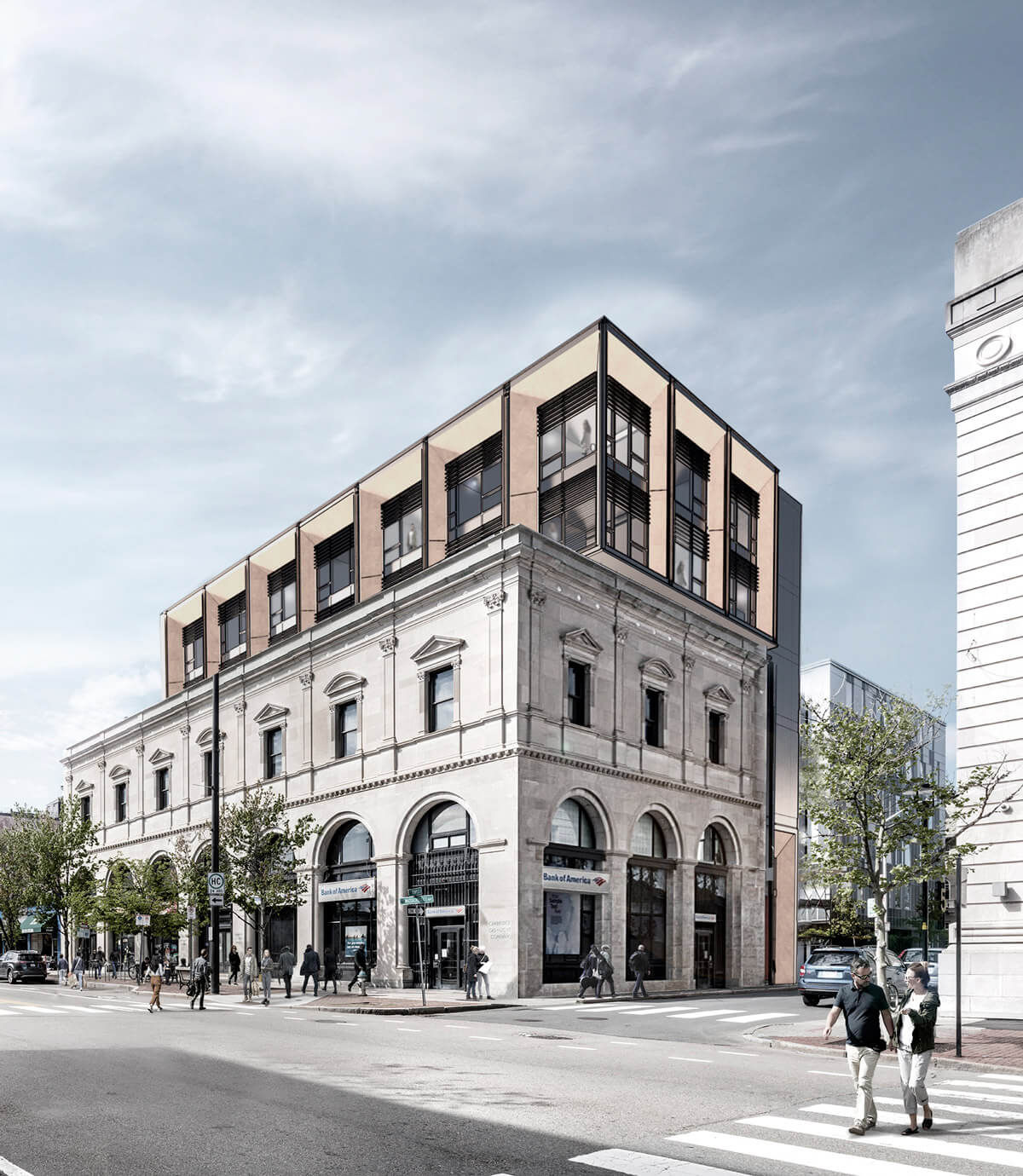 Exterior rendering of 727 Mass. Ave, Cambridge, the former Cambridge Gas Light Building, renovated as a boutique hotel