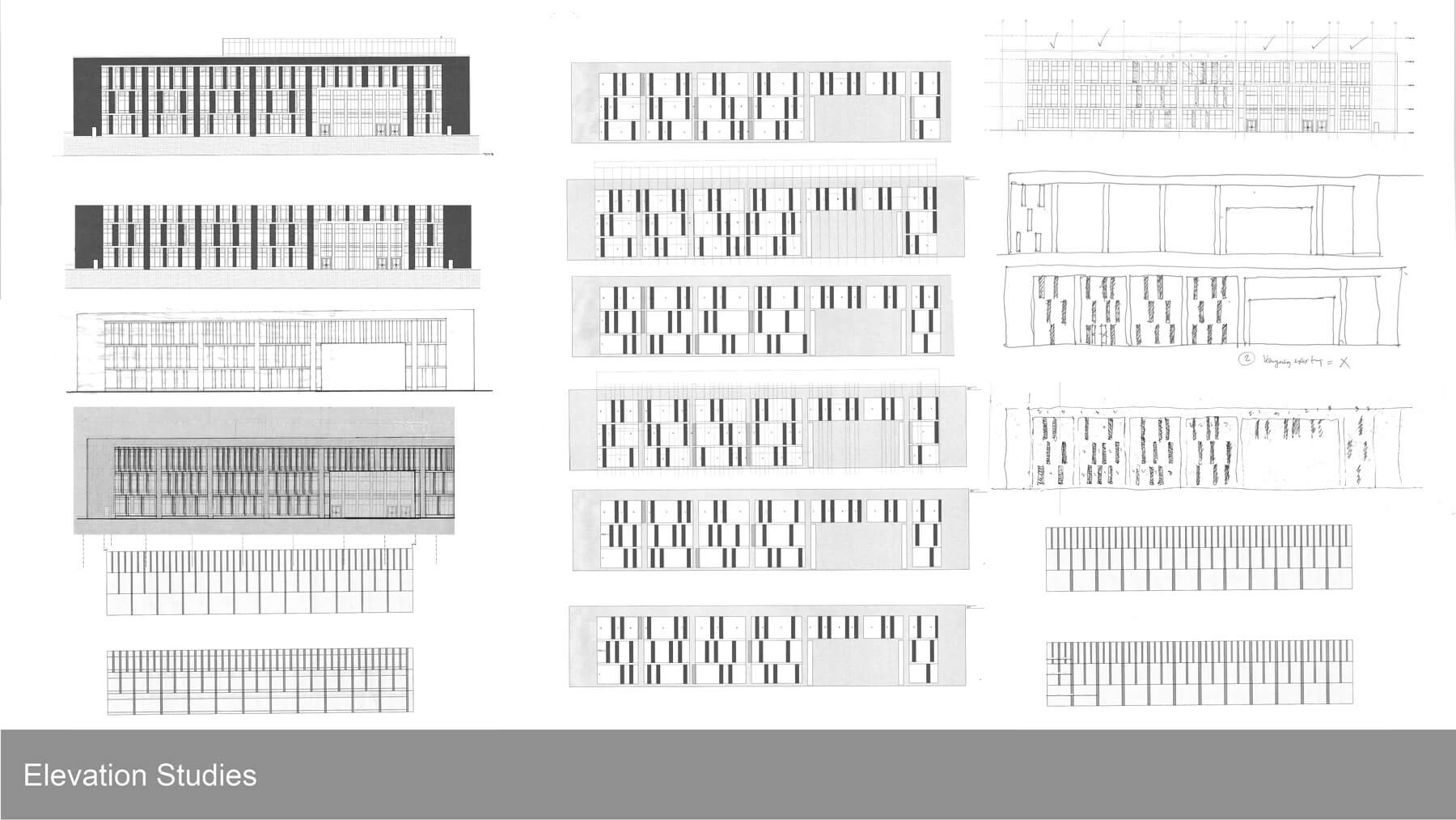 Black and white elevation studies for the York Judicial Center.