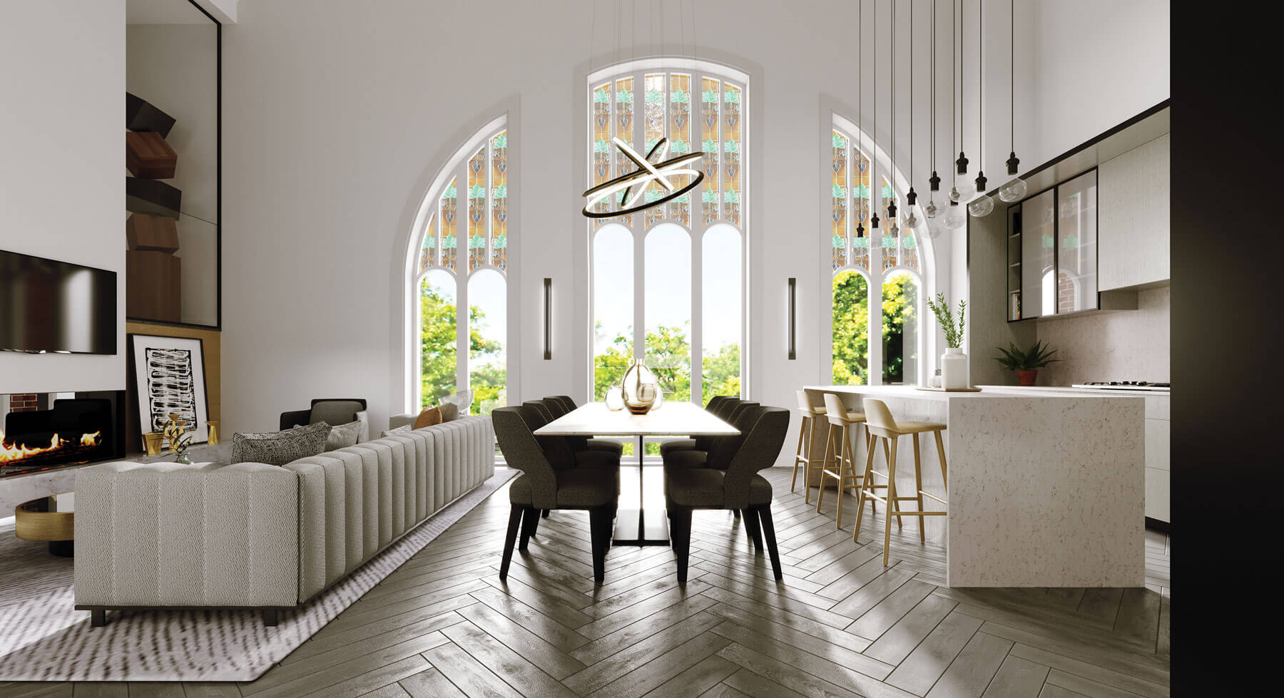 Modern living room, dining table, and kitchen in front of arched church windows.