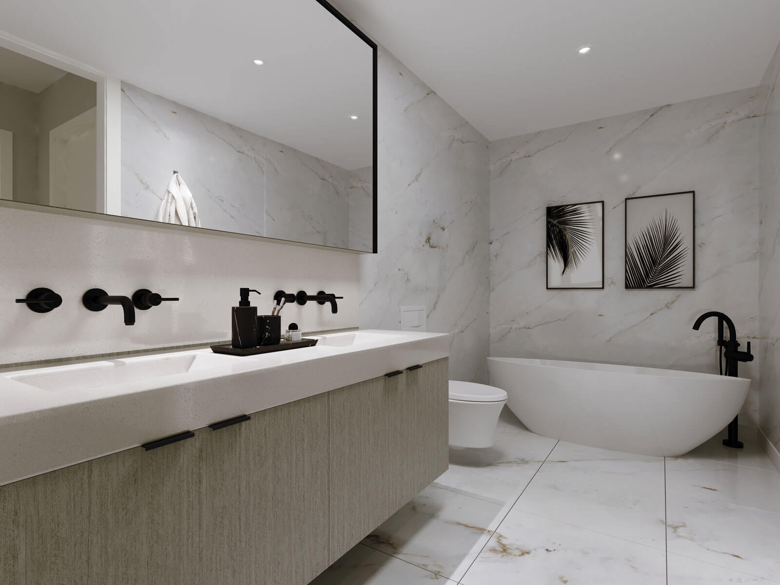 Modern bathroom with round bathtub, sink and mirror, featuring marbled walls and floors