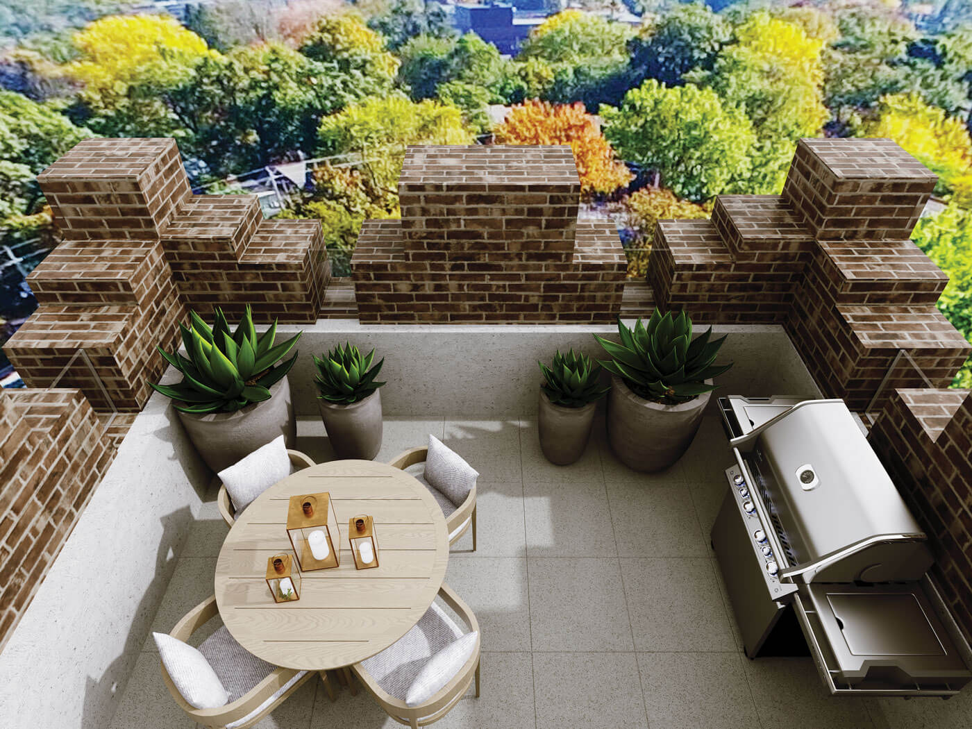 Terrace with barbecue, table, chairs, and plants framed by brick architectural details.