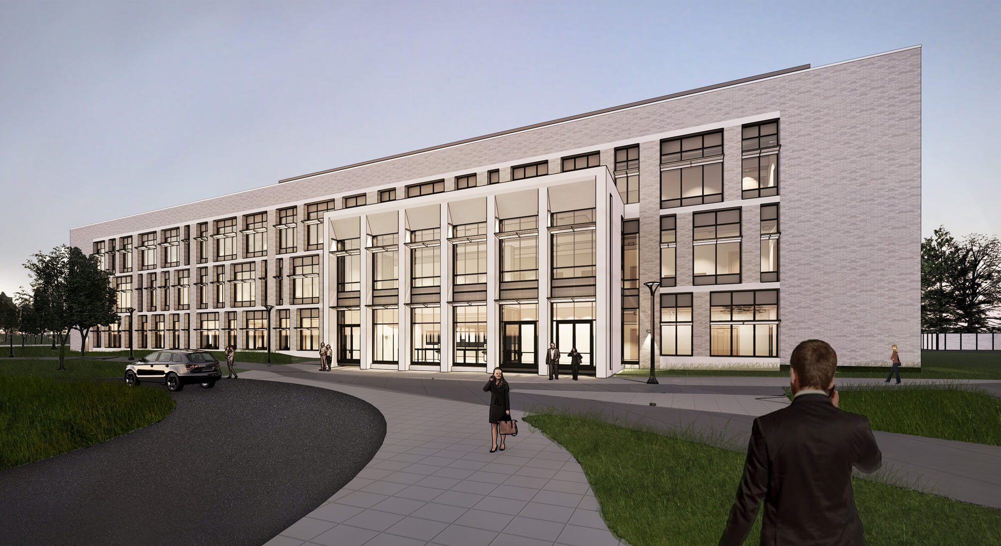 Rendering of the York Judicial Center, with people walking up to the glass and stone entry.