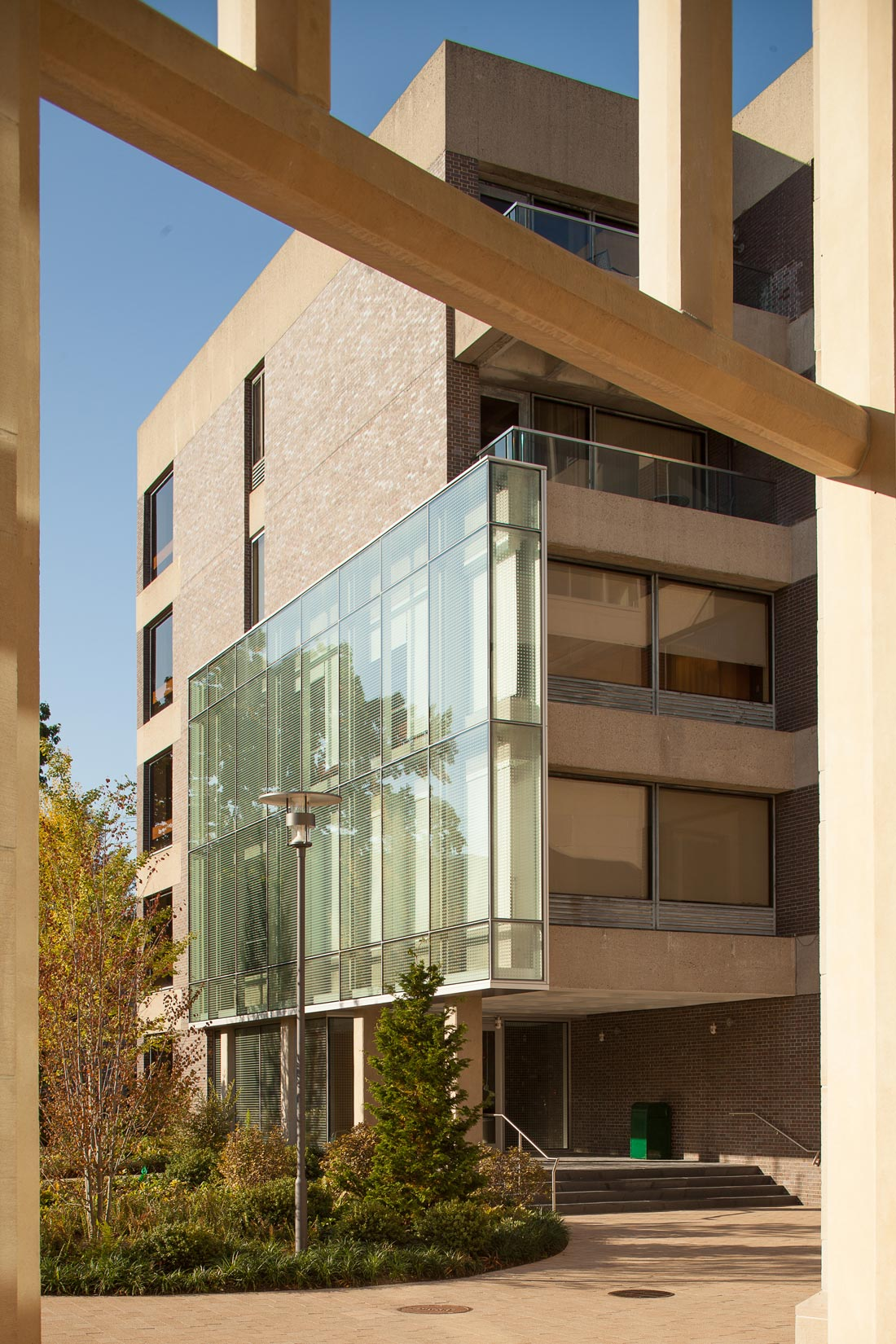 View of Pound Hall's fritted glass curtain wall.