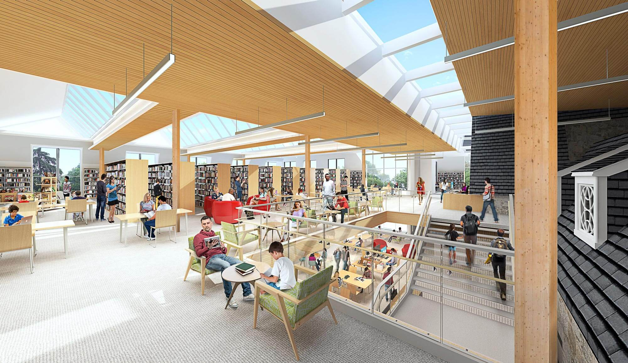 Interior rendering of Jones Library addition