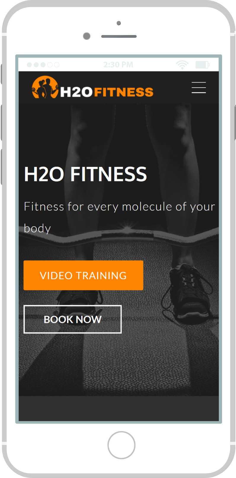 All-In-One Website To Sell Your Fitness Classes Online - H2O Fitness Mobile view 1 Example