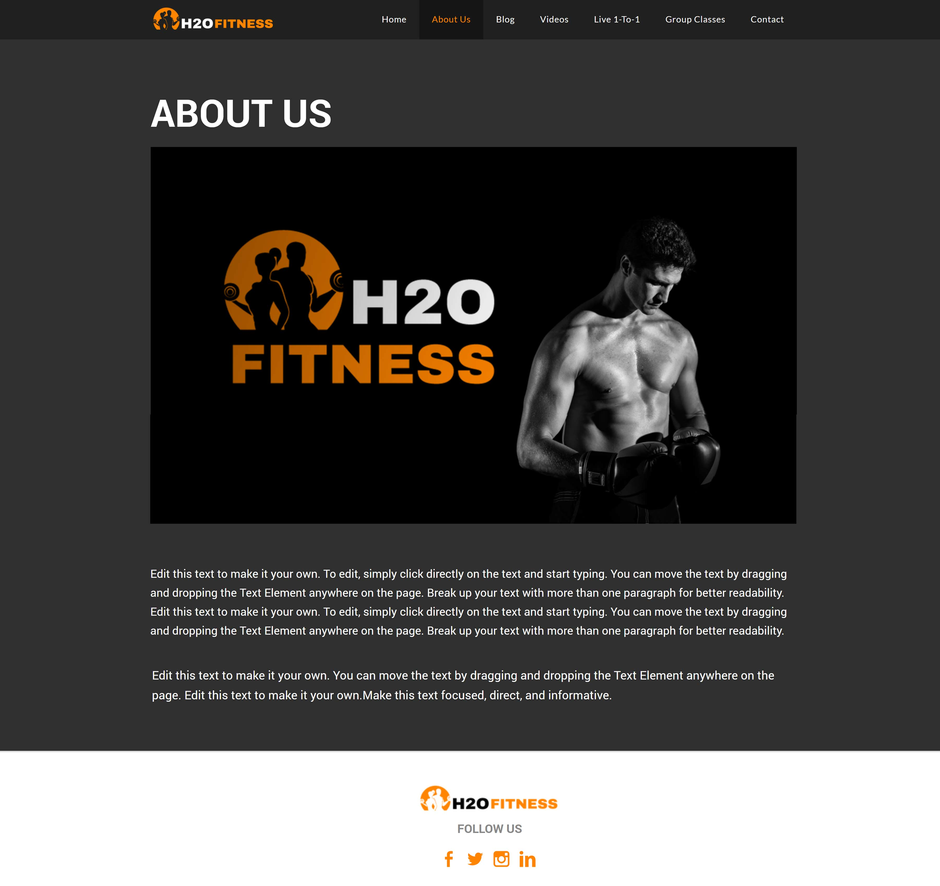 All-In-One Website To Sell Your Fitness Classes Online - H2O Fitness About Us Page Example